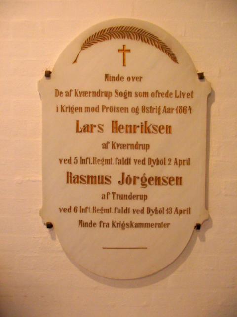 Mindetavle o. faldne i 1864 - Kværndrup kirke
