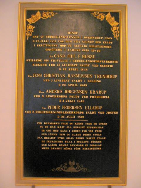 Mindetavle o. faldne i 1848-50 - Kværndrup kirke