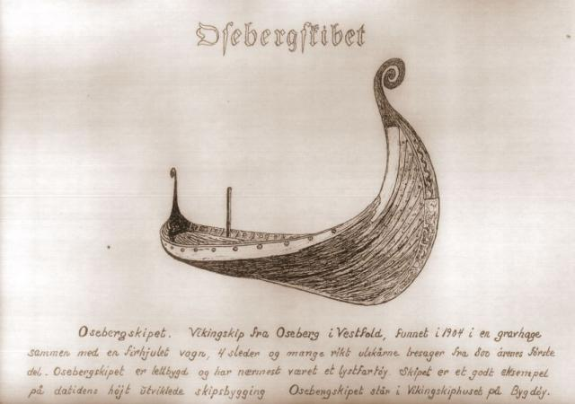 Osebergskibet i Edvard Broholm's streg