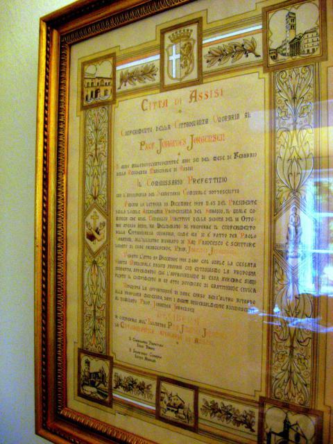 Johs. Jørgensen æresborger i Assisi