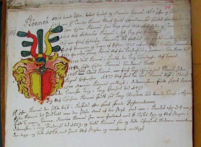 Rønnow -Slægten efter Anne Eilersdatter Rønnow's (+1609) slægtebog