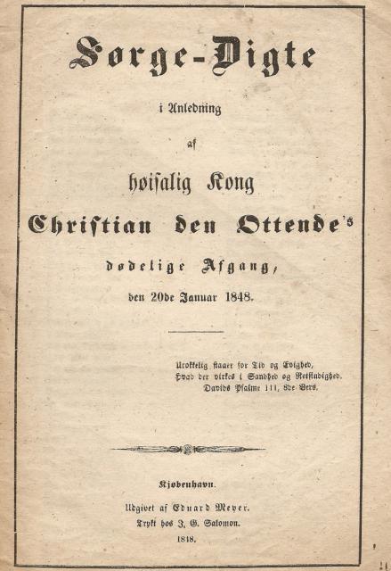 Sørge Digte - kong Christian VIII 1848