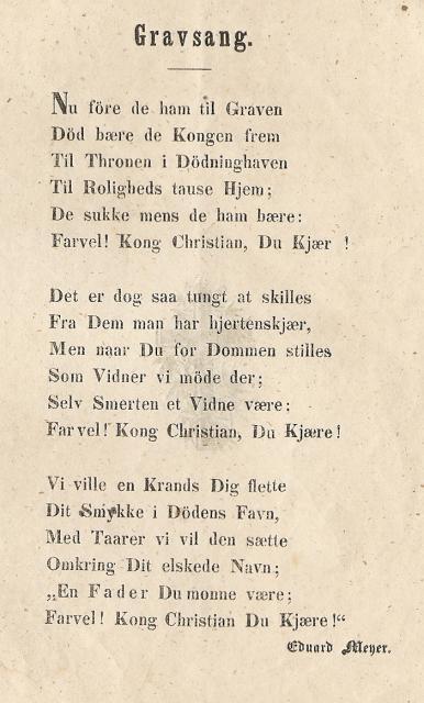Gravsang - kong Christian VIII 1848