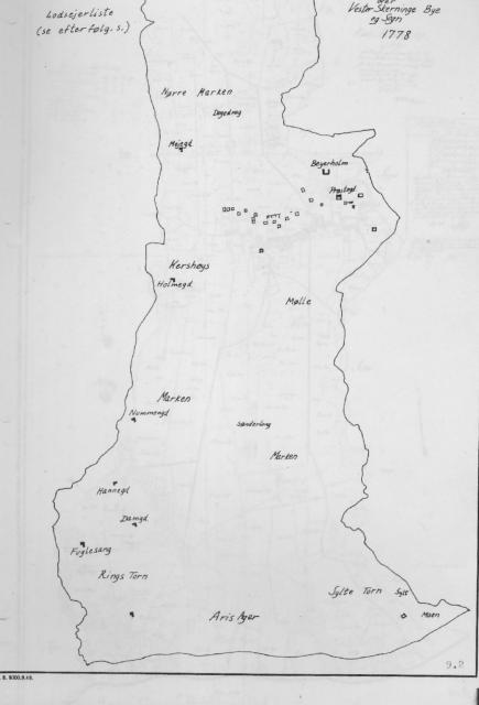 Kort over udflytter gårde i Vester Skerninge